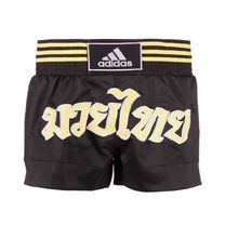 Шорты для тайского бокса Adidas Thai Boxing short Micro Diamond (ADISTH02, черно-золотые)